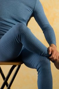 Hocosa Unisex Wool Silk Long Underwear, Denim Blue
