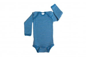 Hocosa Organic Merino Blue Striped Babybody