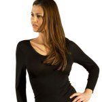 Long Sleeve V-Neck in Organic Wool Silk Blend for Women, Black