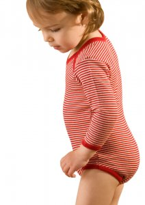 Hocosa Organic Merino Red Striped Babybody